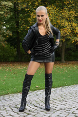 Anna 96 (The Booted Cat) Tags: sexy long blonde hair model girl woman leather jacket miniskirt heels highheels overkneeboots overknee boots nylon pantyhose