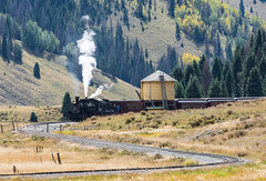 Cumbres and Toltec passing Water Tower in Colorado (_patclancy56) Tags: cumbresandtoltec colorado watertank earlyautum steam narrowgagerr
