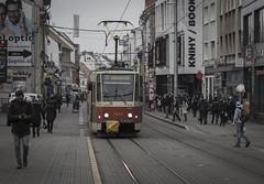Tram in Bratislava (Renatas Repčinskas Photo) Tags: tram streetcar tramway street city slovakia bratislava december people black blackwhite canon canon600d eos600d cloudy day