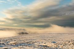 Pennine Winter Jan 2018 111 - At last the mist evaporates-sunset next (Mark Schofield @ JB Schofield) Tags: south pennines pennineway peat peak district digley holmemoss holme wessenden wessendenvalley wessendenhead westnab west huddersfield meltham yorkshire yorkshirewater reservoir transmitter mast overflow snow winter wintry icy sunset landscape canon eos 5dmk4 reflections cloud fog january marsden moors moorland hills valley