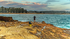 The Early Morning Fisherman (Merrillie) Tags: australia avocabeach centralcoast clouds cloudy coast coastal dawn daybreak earlymorning fisherman fishing gulls landscape morning nature newsouthwales nsw ocean outdoors rocks rocky sea seagulls seascape sky sunrise water waterscape waves