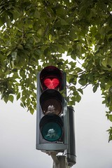 Stop in the name of love (sussexscorpio) Tags: light lights traffic sign heart love stop red trafficlights valentine valentines day valentinesday akureyri iceland smile happy canon canon80d leaves