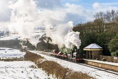 Snow Vale (4486Merlin) Tags: 52322 eastlancsrailway england europe events exly exlms goodstrain heritagerailways northwest pregroupinglms railways snow steam transport unitedkingdom irwellvale lancashire gbr 3p20parcelsgroup