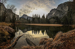 Reflections (Omnitrigger) Tags: yosemite halfdome mercedriver yosemitevalley clouds granite winter