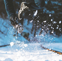Tims (bricewallee) Tags: timberlands shoes jump snow traintracks railroads photography outdoors creative
