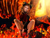 Devil's  girl (meriluu17) Tags: aii uglybeautiful devil horn burn flam flame fire dangerous sexy people portrait lava hot warm wild movement