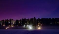 Evening on a lake (Juuso Tasso) Tags: fog ice lake landscape lights night snow stars winter