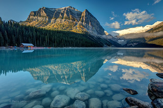 Calm and peaceful morning at Lake Louise