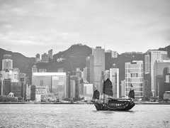 hk junk (AlistairKiwi) Tags: hong kong china olympus omd travel city junk boat harbour sky water black white bw monochrome