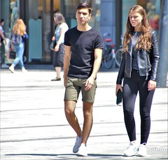 IMG_1297 (Skinny Guy Lover) Tags: outdoor people candid casualclothes dressedcasually shorts guy man male dude walking couple goodbody adidasshoes bulge greenshorts