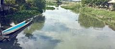 Blue canoe (Lens_sky05) Tags: green riverside water bluecanoe river canoe