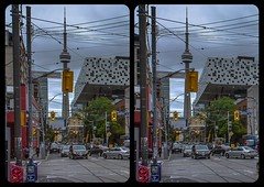 CN Tower towering Toronto 3-D / CrossEye / Stereoscopy / HDR / Raw (Stereotron) Tags: toronto to tdot hogtown thequeencity thebigsmoke torontonian downtown cntower dundas streetphotography urban citylife north america canada province ontario crosseye crosseyed crossview xview cross eye pair freeview sidebyside sbs kreuzblick 3d 3dphoto 3dstereo 3rddimension spatial stereo stereo3d stereophoto stereophotography stereoscopic stereoscopy stereotron threedimensional stereoview stereophotomaker stereophotograph 3dpicture 3dglasses 3dimage twin canon eos 550d yongnuo radio transmitter remote control synchron kitlens 1855mm tonemapping hdr hdri raw