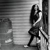 Jess 2 (neohypofilms) Tags: series portrait medium format 120 film hasselblad retro vintage style fashion shoes white wood clogs leggings hair wrap porch blackwhite bw classic 60s 70s