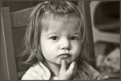 Grand Daughter 2018 #1 (hamsiksa) Tags: girl child baby infant toddler daughter granddaughter ambientlight availablelight children girls portrait candidportrait informalportrait sepia warmtone monochrome blackwhite