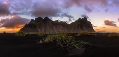 Sunset colors in Vestrahorn (Mika Tuomela) Tags: vestrahorn iceland verticalshotspanorama panorama landscape landscapephotography scenery mountains mountainlandscape mountainscenery mountainsclouds mountainscape blacksand sunset sunlight sunsetphotography photography nikon nikond750 nikkor