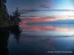 Soft First Light (George Stenberg Photography) Tags: washingtonstate pacificnorthwest hoodcanal dawn firstlight trees water reflections clouds ocean