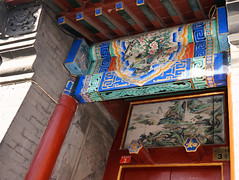Paintings Over Entrance (█ Slices of Light █▀ ▀ ▀) Tags: painted flowers floral wood beams painting house water mountain landscape overhang over front entrance door hutong 胡同 shichahai 什刹海 3 qianhai west street 前海西街 qian hai xi jie siheyuan 四合院 courtyard residence traditional beijing 北京 china 中国 sony nex 6