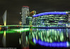 Media City-6 (andyyoung37) Tags: manchester manchestershipcanal mediacity nighttime salfordquays uk waterreflections bridge lightreflections