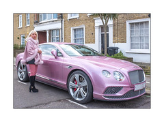Lady Penelope, North West London, England. (Joseph O'Malley64) Tags: ladypenelope thunderbirds bentley lady woman carowner car vehicle automobile stateoftheart craftsmanship expensive expensivetastes lifestyle refinedengineering highperformanceengineering northwestlondon london england uk britain british greatbritain portrait streetportrait environmentalportrait totalstranger stranger victorianhousing brickwork bricksmortar cement pointing stucco stuccowork mouldings sashwindows netcurtains tarmac parkingbays cape poncho suedeboots blonde urban urbanlandscape fujix x100t accuracyprecision