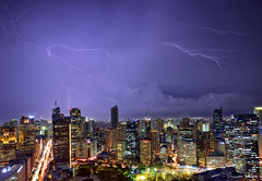 Walk me through the storm (Sumarie Slabber) Tags: makaticity manila philippines city skyline buildings night lightning storm clouds sky sumarieslabber weather thunder
