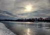 Traveling up the River (kendoman26) Tags: hdr nikhdrefexpro2 barge tugboat illinoisriver sun clouds sky landscape fuji fujifinepix fujifinepixf750exr