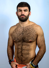1340 (rrttrrtt555) Tags: hair hairy stubble beard muscles shoulder arms eyes stare briefs underwear swimwear attitude masculine chest hands shorts wristband