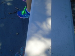 DSC01401 (classroomcamera) Tags: school campus outside outdoors recess lunch metal bleacher bleachers shadow line lines sun sunlight light sunshine feet foot shoe shoes sneaker sneakers bright neon green blue concrete blacktop play playing eat eating sit shadows trees