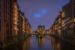 Speicherstadt Hamburg (daniel_moeller) Tags: speicherstadt hamburg sigma19mmf28dn deutschland germany blauestunde sky clouds wolken himmel wasser water city night nightlights sonyalpha6000 wasserschloss