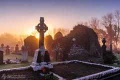 Misty sunrise at Crossmacole (mythicalireland) Tags: cemetery graveyard headstone cross irish celtic mist fog sunrise rising sun morning dawn winter landscape meath trees sky misty nikon ireland