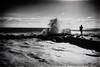 DSC05367  Taking a chance (Seaton Carew.) Tags: chancingit veryclose stormy sea angry rocks monochrome blackwhite sonya7m2
