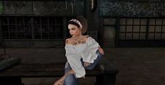Introspection (Spanky SL) Tags: white blouse shirt hair foxy addams sad think heart stars tattoo dark night grafiti pants bench wood street woman secondlife flickr avatar portrait photo picture people mesh catwa bento maitreya letre red black brown color jeans windows old foxcity poses