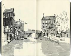 Two days in Skipton (Marrast) Tags: skipton uk northyorkshire canal water bridge sketch urbansketch inpen drawing moleskine illustration art graphic