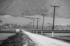 Salinas Valley (bior) Tags: xf55200mmf3548 fujifilmxt1 salinasvalley rural agriculture farm farmaccessroad powerlines blackandwhite