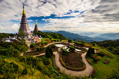 Landscape of two pagoda on the top of Inthanon mountain in doi Inthanon national park, Chiang Mai, Thailand. (MongkolChuewong) Tags: architecture art asia background beautiful buddha buddhism buddhist building chiang chiangmai culture doi flower grass green high history inthanon landmark landscape mai mist morning mountain national nature north old pagoda panorama park popular religion religious season sky space sunrise sunset temple thai thailand top tourism tourist traditional travel traveler vacation