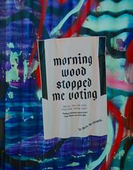 Morning Wood Stopped Me Voting (Steve Taylor (Photography)) Tags: morningwoodstoppedmevoting election vote poster streetart graffiti fun uk gb england greatbritain unitedkingdom london