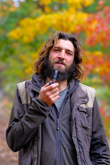 USA-163 (Bobby's Road Photography) Tags: portrait family friend america americans autumn seasons colors guy man men garden park models model pipe smoking bear