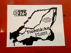 Unsettle 375 Montreal (Fred:) Tags: unsettle 375 mohawk tiohtiàke kanienkehàka language 375mtl mtl375 375e colonisation anishinaabe territories 375th autochtones premièresnations firstnations premières nations first autochtone indigenous rights message celebrations local demonstration anti protest territory protesting anniversaire anniversary island droits peuples people resistance canada canadian montréalais 375ans colonize colonization aboriginal decolonize decolonization sticker stickers politics politique activism activisme montréal montreal