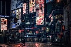 The night walker, Toronto (reinaroundtheglobe) Tags: toronto ontario canada street streetphotography urban night nightphotography city noir moody dundassquare illuminated billboards