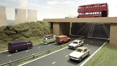 Busy Morning in Doncaster. (ManOfYorkshire) Tags: diorama dualcarriageway road motorway scale model 176 bus cars oxforddiecast diecast models posed doncaster transport daimler vw camper van rover jensen landrover traffic