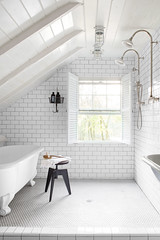 Attic Bathroom (Heath & the B.L.T. boys) Tags: bathroom tile shower tub sink white stool attic hooks basket