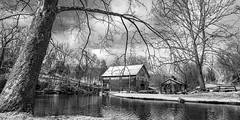 Cook's Old Mill with Snow_BW (Bob G. Bell) Tags: mill cooksmill monroe greenville winter snow pond trees lake sky clouds bobbell xt1 fujifilm