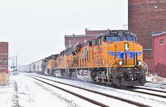 "Eastbound Manifest in Kansas City, MO (""Righteous"" Grant G.) Tags: up union pacific railroad railway locomotive train trains east eastbound manifest freight emd ge power kansas city missouri snow"