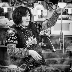 Octopus (GavinZ) Tags: asia korea seoul travel bw bnw blackandwhite street woman people square food 韓國 광장시장 market