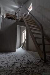 Concretus Rex Inside 1 [in explore February 12, 2018] (kentkirjonen) Tags: abandoned övergivet övergiven canon 80d rust rost old gammal sweden sverige ue decay förfall wood trä minesite gruvområde snow snö dark mörkt lights lampor lave headframe concrete betong stairs staircase trapp trappor rex