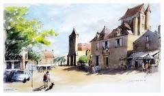 Domme - Périgord - Nouvelle Aquitaine - France (guymoll) Tags: googleearthstreetview domme périgord aquitaine france hôteldeville mairie aquarelle watercolour watercolor église château
