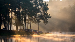 Peaceful (asioni) Tags: pang ung thai thailand amazing light god ray boat lake people water fog mist trees pine peaceful tent travel mountain cool sun sunrise landmark maehongson ngc