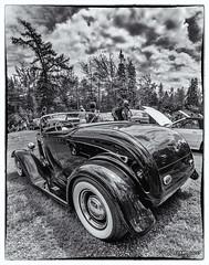 1932 Ford Deuce roadster hot rod (kenmojr) Tags: 2017 antique atlanticnationals auto car classic moncton newbrunswick show vehicle vintage centennialpark kenmo kenmorris carshow nikon d7100 bower fisheye 8mm bw blackandwhite blackwhite 1932 ford deuce roadster hotrod canada