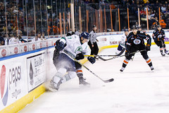 """Kansas City Mavericks vs. Florida Everblades, February 18, 2018, Silverstein Eye Centers Arena, Independence, Missouri.  Photo: © John Howe / Howe Creative Photography, all rights reserved 2018 • <a style=""""font-size:0.8em;"""" href=""""http://www.flickr.com/photos/134016632@N02/40387905971/"""" target=""""_blank"""">View on Flickr</a>"""