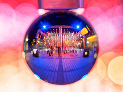 Ocean of Light I (Graeme Pow) Tags: oceanoflight edinburghlumen art installation edinburgh light sound audio visual night crystalball glassball globe colour macro bokeh