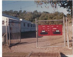 Gates to the tank park Guantanamo Bay, Cuba 1988 (1811/1812 USMC) Tags: fence marine marines m60a1 guantanamo gitmo tank tanks tanker usmc navalbase building